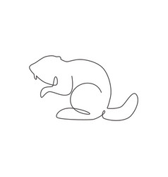 one single line drawing funny standing beaver vector image