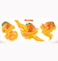 Orange juice fresh fruit 3d realistic icon vector