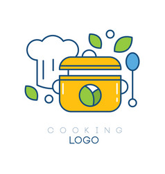 Original logo template with chef s hat vector