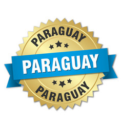 Paraguay round golden badge with blue ribbon vector