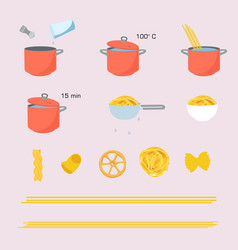 Pasta cooking directions instructions steps how vector