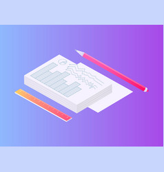 pile papers documents with pencil and ruler set vector image