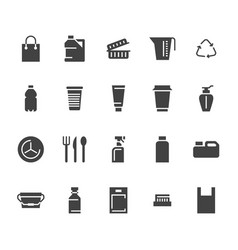 Plastic packaging disposable tableware flat glyph vector