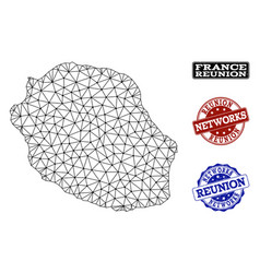 Polygonal wire frame mesh map of reunion vector