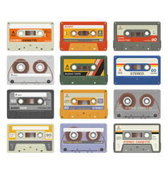 retro cassettes colorful plastic audio cassette vector image
