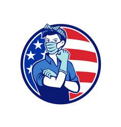 Rosie riveter wearing mask usa flag mascot vector