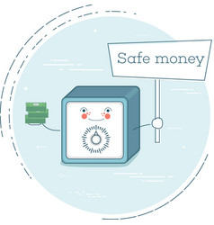 Safe money concept in line art style vector