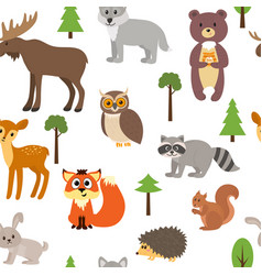 Seamless pattern with cute forest animals and vector