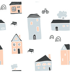 seamless pattern with stylish scandinavian houses vector image