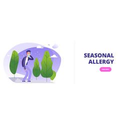 Seasonal allergy banner template man with season vector