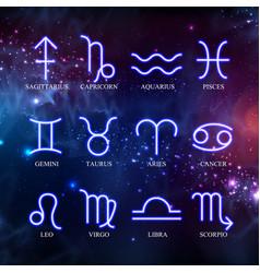 Set astrology neon zodiac signs vector