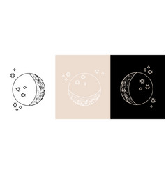 Set colorful mystic moon linear logo icons vector
