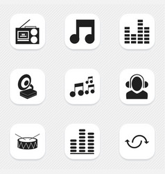Set of 9 editable audio icons includes symbols vector