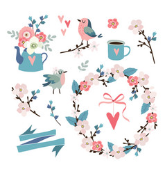 Set spring easter or wedding icons clip-arts vector