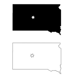 south dakota sd state map usa with capital city vector image