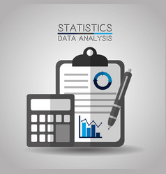 statistics data analytics clipboard calculator and vector image