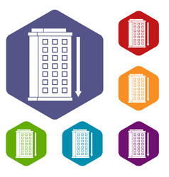Tall building and down arrow icons set hexagon vector