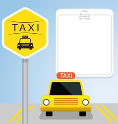 Taxi with Sign Front View vector