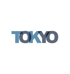 tokyo phrase overlap color no transparency vector image