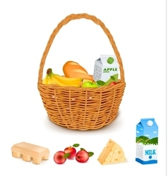 Traditional Woven Basket With Products vector