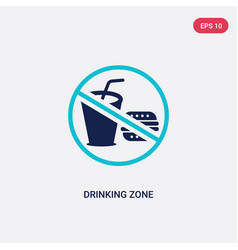 two color drinking zone icon from food concept vector image