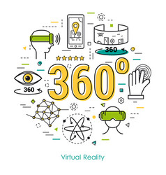Virtual reality 360 - line art concept vector
