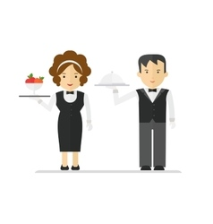 waitress and waiter in black suit vector image