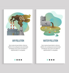 Water and air pollution harm to nature ecology vector