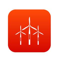 Wind generator turbines icon digital red vector