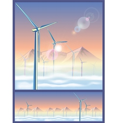 wind turbines in the mountains vector image