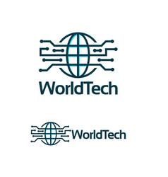 world tech logo template simple line art world vector image