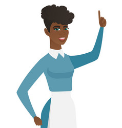 young african cleaner pointing her forefinger up vector image
