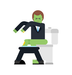 zombie on toilet green dead man in wc vector image