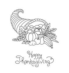 Doodle Thanksgiving Cornucopia Freehand vector image vector image