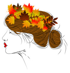 girl with autumn leaves in long hair vector image vector image