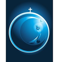 Round Christmas icon of Mary and baby Jesus vector image