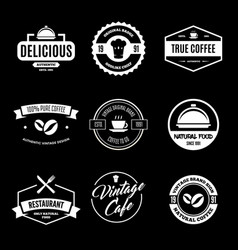 set of restaurant shop design elements in vintage vector image vector image