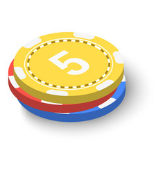 stack of poker chips icon isometric 3d style vector image