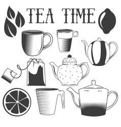 Tea time hand drawn Set of vector image vector image