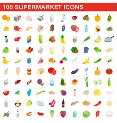 100 supermarket icons set isometric 3d style vector image