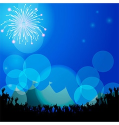 Festival tends and crowd with firework vector image vector image