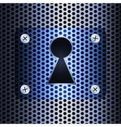 Keyhole on a metal grid vector image