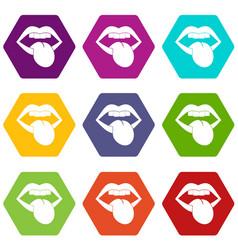 rock emblem icon set color hexahedron vector image