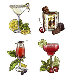 set of four summer cocktails vector image vector image