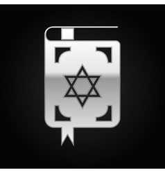 Silver Jewish torah book icon on black background vector image