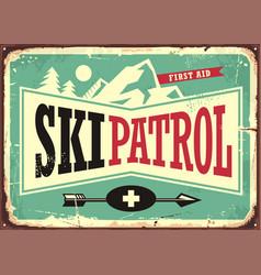 ski patrol retro sign design with mountain shape vector image