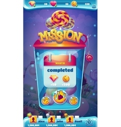 Sweet world mobile GUI mission completed window vector image