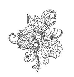 Zentangle floral pattern Hand drawn design element vector image