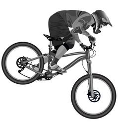 An image of a cyclist descending on a mountain vector