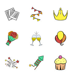 happy day icons set cartoon style vector image